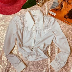 Vtg 70s Oversized Collar Button Down Blouse SM
